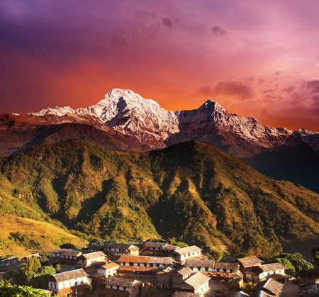 Himalayan village and Annapurna South , Nepal
