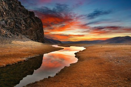 Colorful sunrise in mongolian wilderness Stock Photo - 2942976