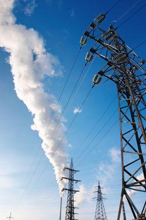 smokestacks: Electric power station with smokestacks