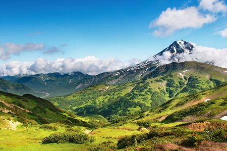 kamchatka: Mountain landscape with extinct volcano