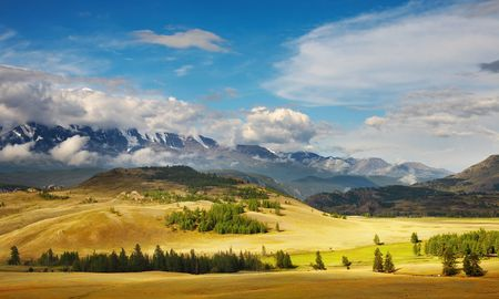 Landscape with mountain range and blue sky Stock Photo - 3033338