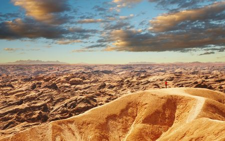 parch: Extraordinary Moon Landscape in Namib Desert near Swakopmund, Namibia Stock Photo