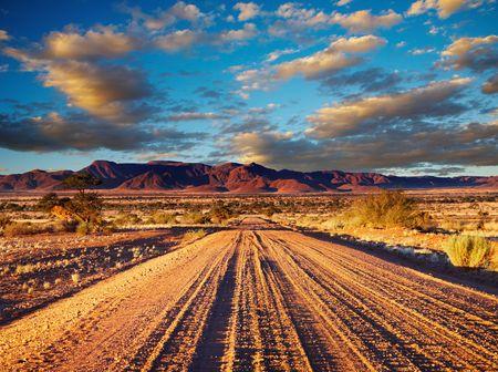 parch: Road in Kalahari Desert, Namibia