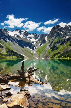 Beautiful turquoise lake in Altai mountains Stock Photo