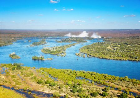 birdseye view: Zambezi river and Victoria Falls, birds-eye view