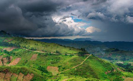 Uganda: African landscape, rainy season, Uganda