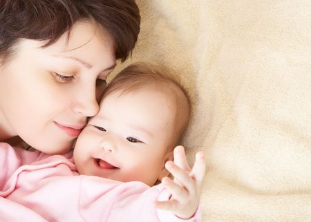 Portrait of happy mother and baby Stock Photo - 3612834
