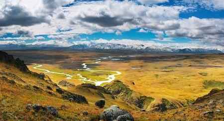 plateau: Mountain panorama, highlands Plateau Ukok