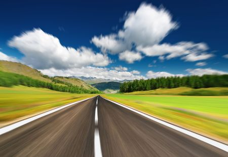 Empty road with motion blur  Stock Photo