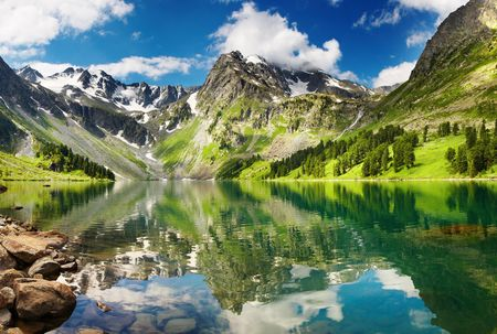 Beautiful lake in Altai mountains Stock Photo