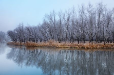 Autumn landscape with frosty trees  photo