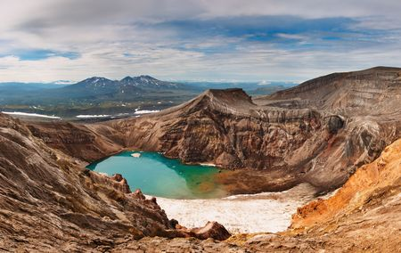 crater highlands: Acid lake in volcanic crater