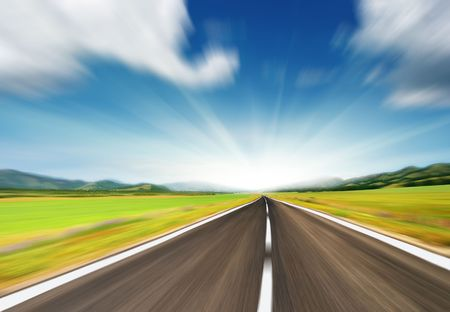 empty road: Empty road with motion blur  Stock Photo