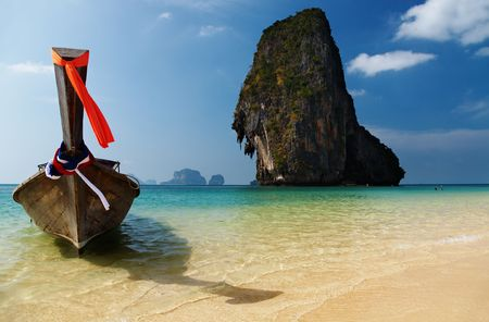 long tail: Tropical beach, long tail boat, Thailand