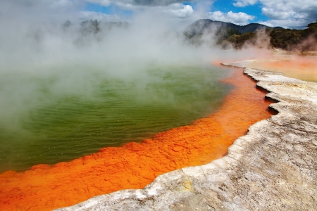 Champagne Pool, hot thermal spring, Rotorua, New Zealand Stock Photo