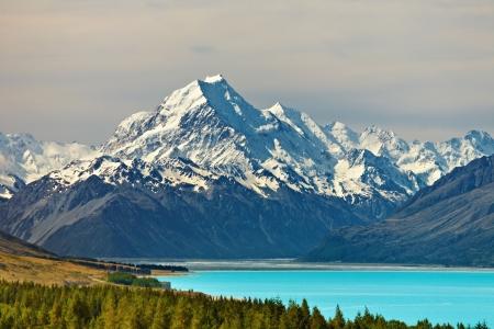 zealand: Mount Cook and Pukaki lake, New Zealand