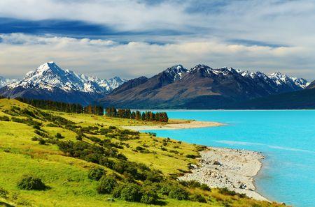 Mount Cook en Pukaki meer, Nieuw-Zeeland Stockfoto