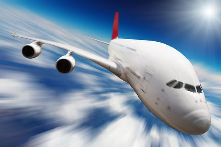 Jet airplane in the sky with motion blur photo