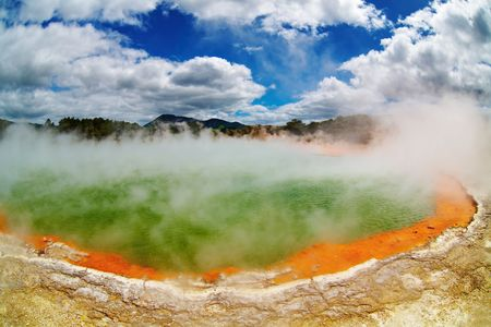 Champagne Pool, hot thermal spring, Rotorua, New Zealand  photo