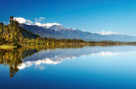 Mooi meer, Nieuw-Zeeland, Zuid Alpen