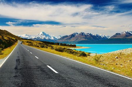 new scenery: Mount Cook and Pukaki lake, New Zealand