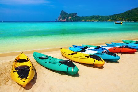 Kayaks on the tropical beach, Phi-Phi Don island, Thailand  Stock Photo