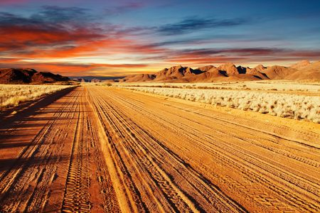dusty: Road in Kalahari Desert, Namibia