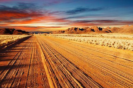 Road in Kalahari-Wüste, Namibia