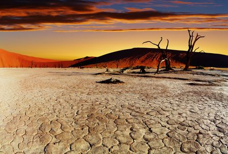Dead Vlei at sunset, Namib desert, Namibia  Stock Photo