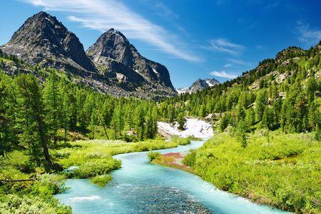 rocky mountains: Berglandschap met rivier en bos Stockfoto