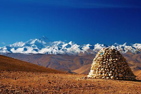 Tibetan landscape with Mount Everest on background