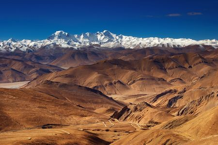 greatness: Tibetan landscape with Himalayan Range  Stock Photo