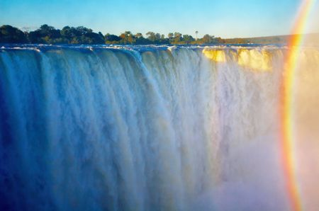 zambia: Victoria Falls at sunset, Zimbabwe  Stock Photo