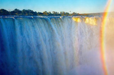 zimbabwe: Victoria Falls at sunset, Zimbabwe  Stock Photo