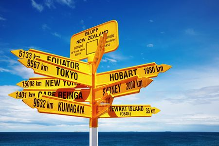 Signpost in the Stirling Point, Bluff, New Zealand.  Most southern mainland point of New Zealand  Stock Photo