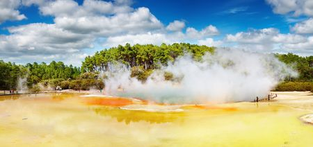 Artists Palette pool, hot thermal spring, Rotorua, New Zealand  photo