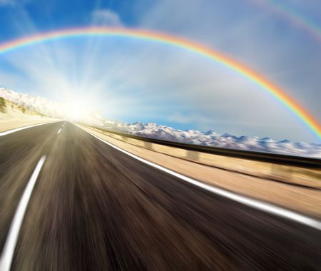 Road with motion blur and rainbow Stock Photo - 4811526
