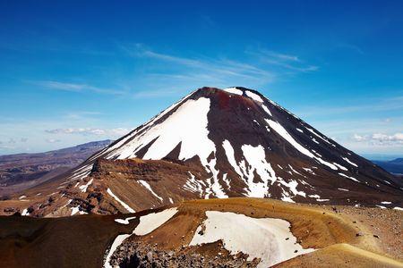 tongariro: Monte Ngauruhoe, Parque Nacional de Tongariro, Nueva Zelanda Foto de archivo