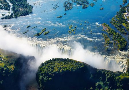 zambia: Zambezi river and Victoria Falls, aerial view