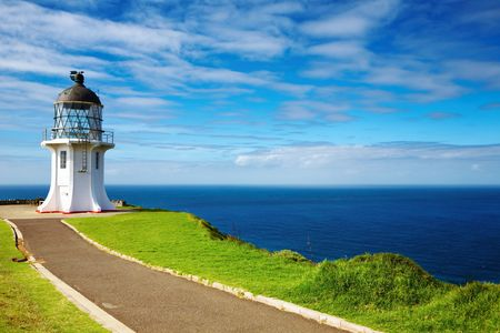 ケープ レインガ灯台、ニュージーランドの北の端 写真素材