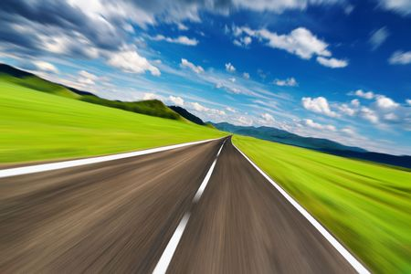 ahead: Empty road with motion blur  Stock Photo