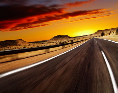 Road in desert with motion blur