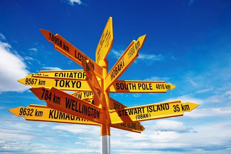 mainland: Signpost in the Stirling Point, Bluff, New Zealand. Most southern mainland point of New Zealand