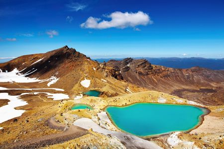 Emerald Lakes, Tongariro National Park, New Zealand  Stock Photo