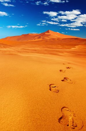 parch: Footprints on the sand, dunes of Namib Desert Stock Photo