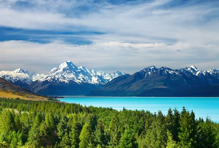 alps: Mount Cook and Pukaki lake, New Zealand