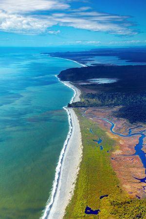 West Coast, Nouvelle-Zélande, vue aérienne