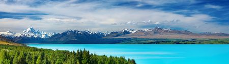 Mount Cook and Pukaki lake, New Zealand  photo