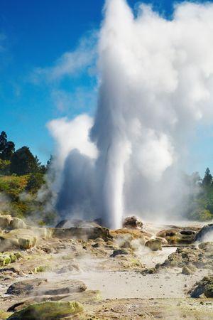 Pohutu Geyser eruption, Rotorua, New Zealand