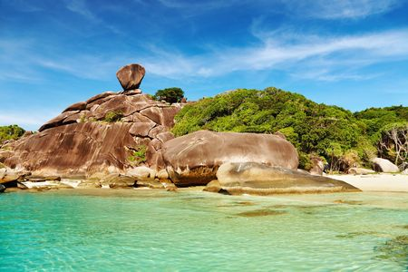Tropical beach, Similan islands, Andaman Sea, Thailand   Фото со стока